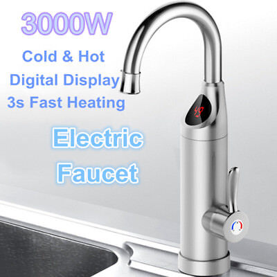 3000W Electric Faucet Tap Kitchen Instant Tankless Water Heater Digital Display