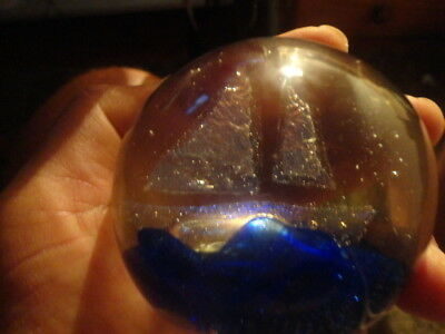 Iridescent Sailing Ship Glass Paperweight