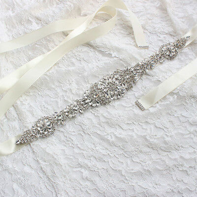 Women Bridal Wedding Dress Rhinestone Ribbon Sash Belt Luxury Waistband 8 Colors