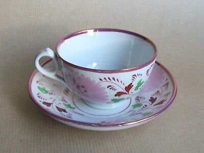 DAVENPORT CHINA LUSTRE CUP AND SAUCER DATED 1848 (Ref2838)