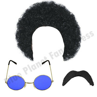 Mens Hippy Hippie Afro Wig Sunglasses Tash 1970S Fancy Dress Costume Lot