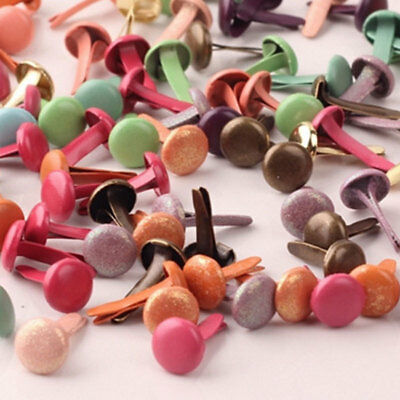 100X 8mm Mixed Colors Metal Brads for Scrapbooking Card Making DIY Craft