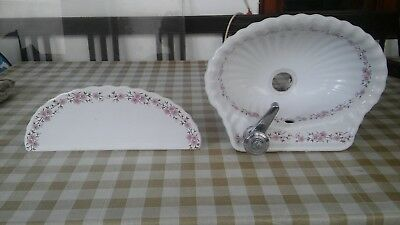 Vintage bathroom seashell wash basin sink & shelf - Porcelaine de Paris France