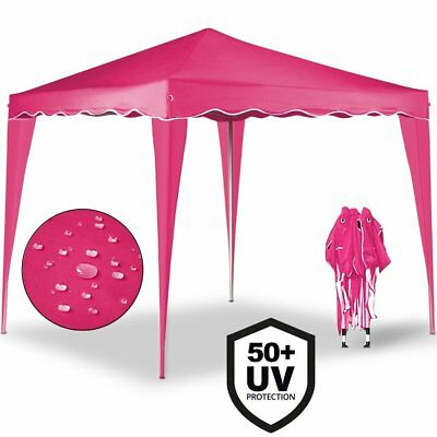 Cenador plegable de jardín carpa de plástico impermeable pop-up 3 x 3 Rosa