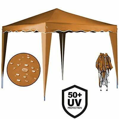 Cenador plegable de jardín carpa de plástico impermeable pop-up 3 x 3  Marrón