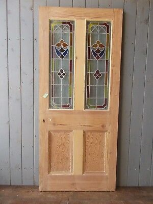 Pitch Pine Part Glazed Door Wooden Reclaimed 803