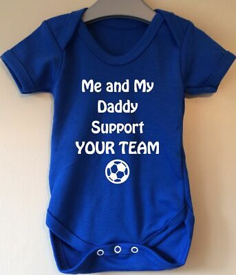 Me And My Daddy Support Rangers Baby Body Grow Suit Vest Girl Boy Football