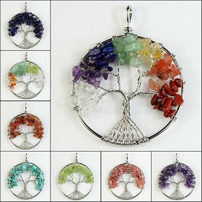 Natural Amethyst Lapis Lazuli Beads Chakra Tree of Life Pendant For Necklace