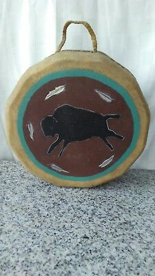 Native American Indian rawhide and wood drum