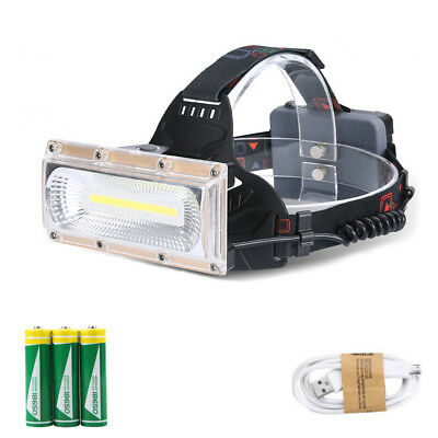 30W LED COB USB Rechargeable 18650 Headlamp Headlight Fishing Torch Flashlight