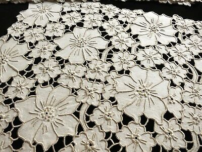 MASSES of FLOWERS Antique MADEIRA Cutwork Hand Embroidery 8 Placemats & Runner