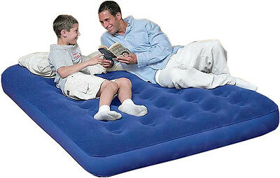 Double Flocked Airbed Air Bed Camping Inflatable Mattress Blow Up Bed Plush
