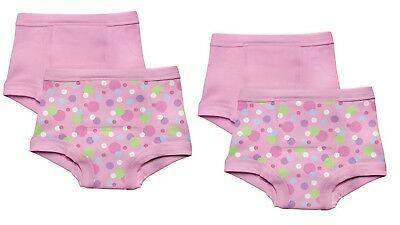 NEW 4Pk Green Sprouts Girl's 3T Washable Potty Training Pants Underwear Pink Dot