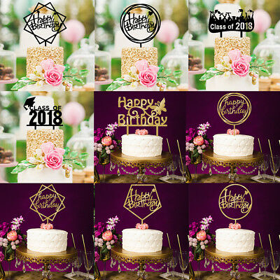 Happy Birthday Cake Topper Acrylic DIY Cupcake Smash Candle Party Handmade Stick