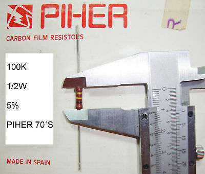 Vintage Piher Resistor. 1/2W 100K 5% *1 Pc* New Original 1970´s +