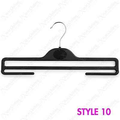 36Cm Plastic Strong Black Trouser Hangers With Underbars For Garments Scarfs