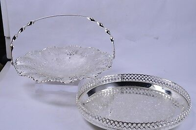 2 Vintage EPNS Silver Plated Serving Cake Sandwhich Baskets Drinks Tray Wedding