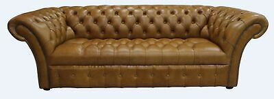 Chesterfield Balmoral Vintage 3 Seater Buttoned Sofa Old English Tan Leather