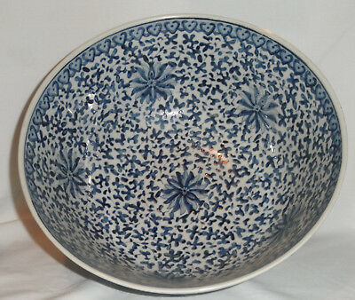 Large Chinese Blue And White Ruyi And Lotus Bowl