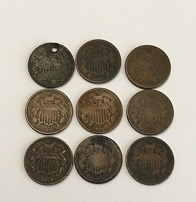 Lot of 9 TWO CENTS coins ~ 1864, 1865, 1866, 1869 ~ Civil War
