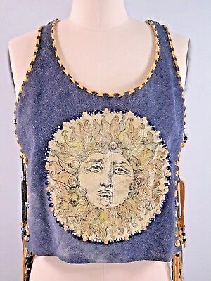 Vintage 60s 1960s Hippie Vest Blue Suede Fringed Beads Leather Festival Poncho