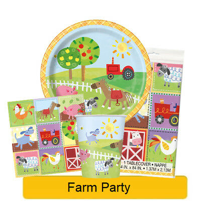 FARM PARTY Birthday Party Tableware, Banners, Balloons & Decorations (UQ) 1C NEW