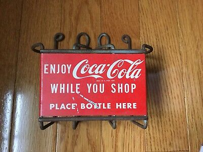 Coca Cola Shopping Cart 2 Bottle Metal Carrier Holder Caddie Coke