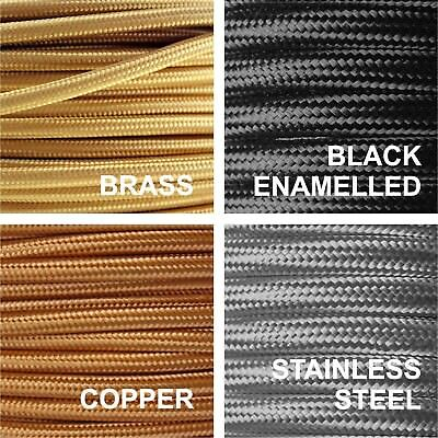 Metal Braided 6 Amp Mains Electrical Cable Copper, Brass, Stainless Steel, Black