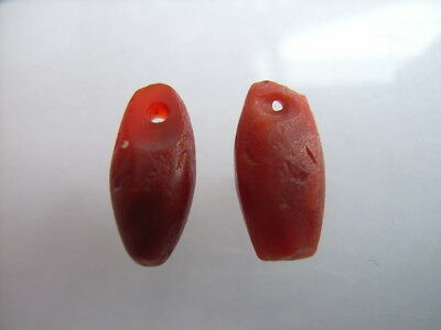 2 Ancient Neolithic Amulets, Red Jasper, Stone Age, VERY RARE!  TOP !!