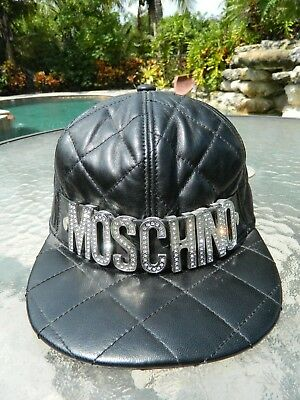 8421fdcda76d7 Authentic MOSCHINO Ltd Ed Crystal Black Quilted Leather Cap EUC Adjust Sz S  Hat