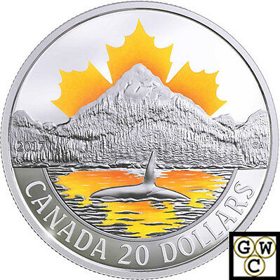 2017Pacific Coast-Canada's Coasts' Color Prf $20 Silver 1oz .9999Fine(18127)(NT)