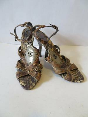 fc5ff43fb57d1d Womens Just Cavalli Brown Snakeskin Embossed patent Leather Sandal Heels  Size 38