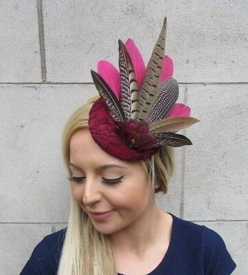 Burgundy Wine Deep Red Pheasant Feather Fascinator Races Pillbox Hat Ascot 5510