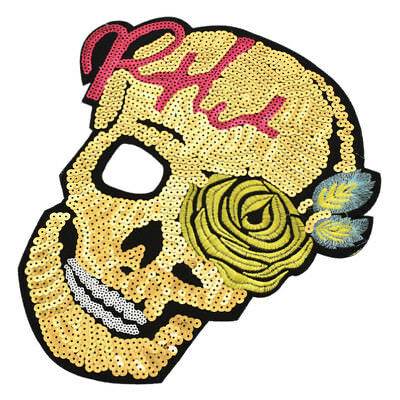 Sequined Skull Patches Paillette Punk Sew On Embroidery Badge DIY Clothes Craft