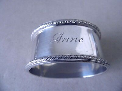 "BEAUTIFUL VINTAGE STERLING SILVER OVAL "" Anne "" NAPKIN RING 1955, 36 GRAMS"