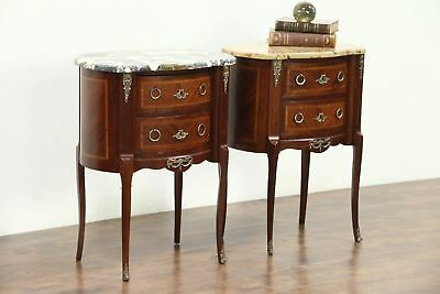 Pair of Marquetry & Marble Top French Chests, Nightstand or End Tables, France