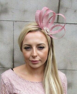 Dusky Dusty Pink Rose Gold Silver Sinamay Fascinator Alice Band Headband 5512