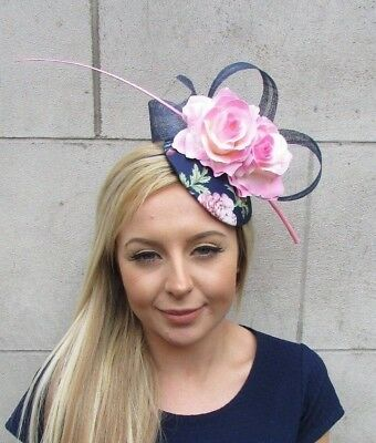 Navy Blue Light Pink Rose Flower Feather Pillbox Hat Hair Fascinator Floral 5514