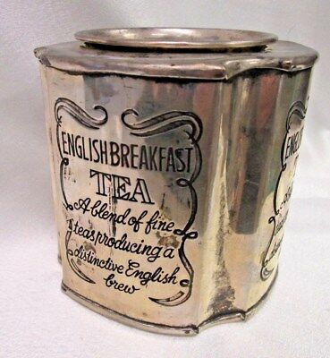 Vintage Silver Plate ENGLISH BREAKFAST TEA TIN Container