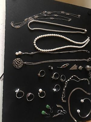 Job Lot Silver Including Real Diamond Rings