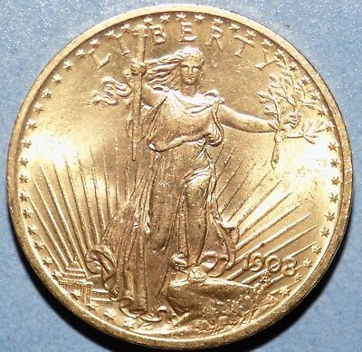 1908 $20 St Gaudens Gold Double Eagle Coin