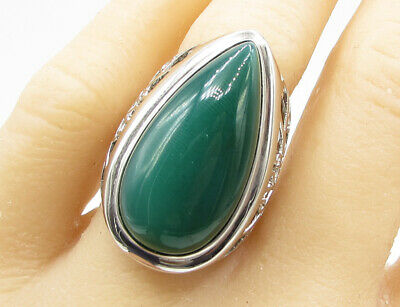 925 Sterling Silver - Green Chalcedony Tear Drop Statement Ring Sz 9 - R1102