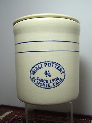 Vintage Miali Pottery Crock 1/4 Size El Monte Calif. USA with Lid VGUC
