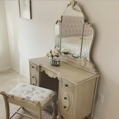 Antique Vintage Vanity Refinished New Mirrors Annie Sloan