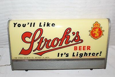 """Vintage c.1950 Stroh's Beer Gas Oil 2 Sided 19"""" Lighted Metal Sign~Very Nice"""