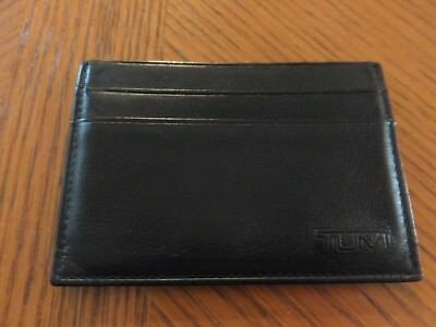 "TUMI BLACK LEATHER ID/BUSINESS CARD CASE HOLDER 3 3/4"" x 2.75""   #344"