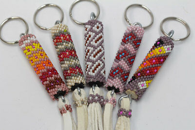 Set Native American Handmade Navajo Beaded Key Chain Leather Ring