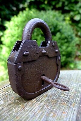 Antique vintage padlock with one key unique many other padlocks available 20-01