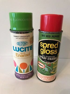 Vintage Dupont And Glidden Spray Paint Cans Parrot Green And Red Pepper Lot of 2