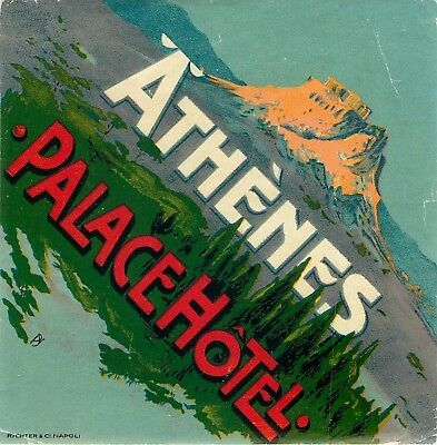 Athenes Athens Greece Palace Hotel Old Artist Paschal Richter Luggage Label